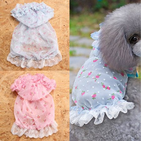 Dog Cat Bow Tutu Dress Lace Skirt Pet Puppy Dog Princess Costume Apparel Clothes,Pink strawberry S color](Puppy Dog Halloween Face)