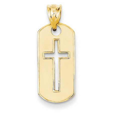 14k Yellow Gold Polished Cross Cut-out Pendant