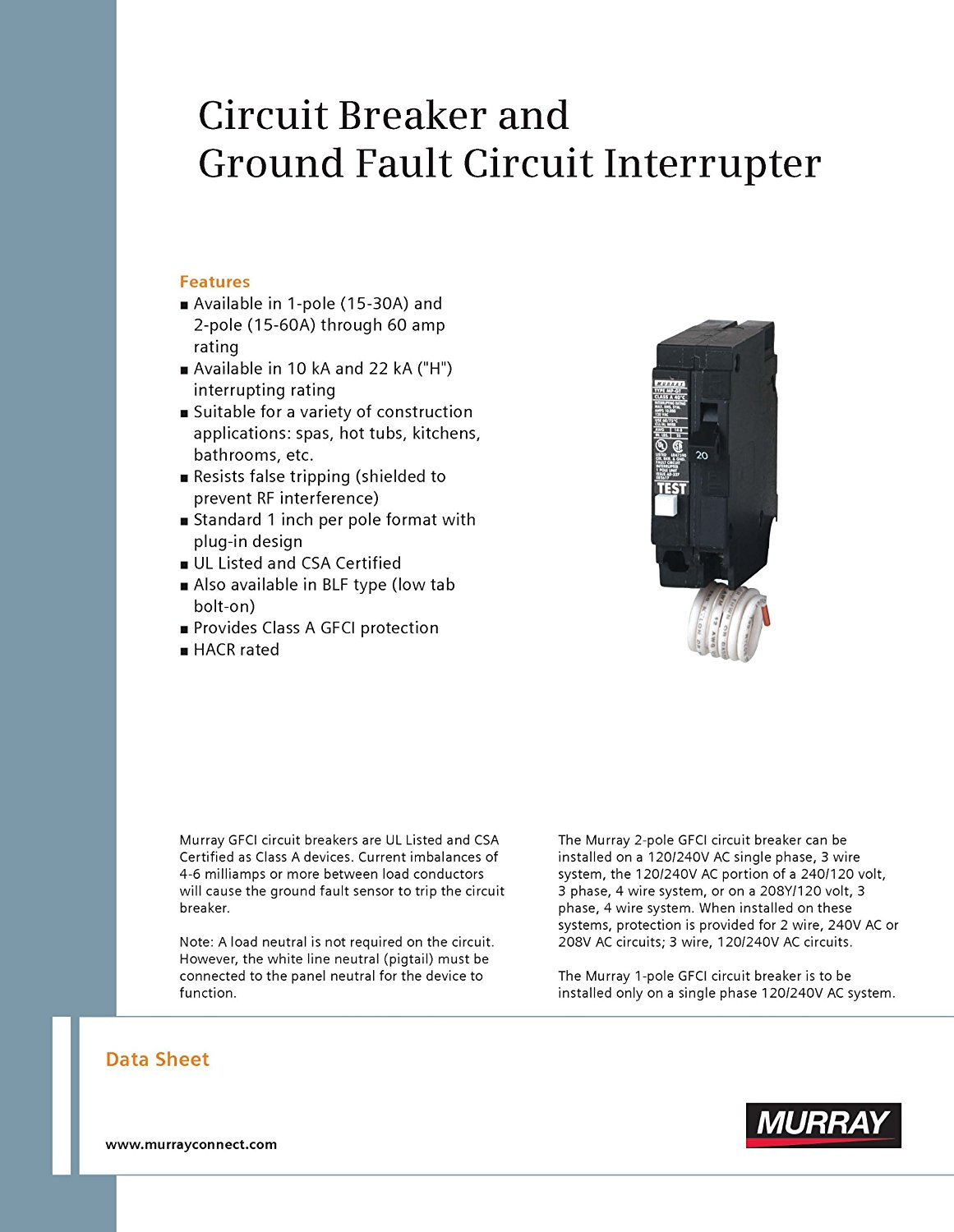 Mp250gf 50 Amp 2 Pole 240 Volt Ground Fault Circuit Interrupter How To Test Gfci By Murray