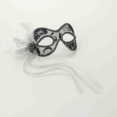 Venetian Black And Silver Lace Costume Mask