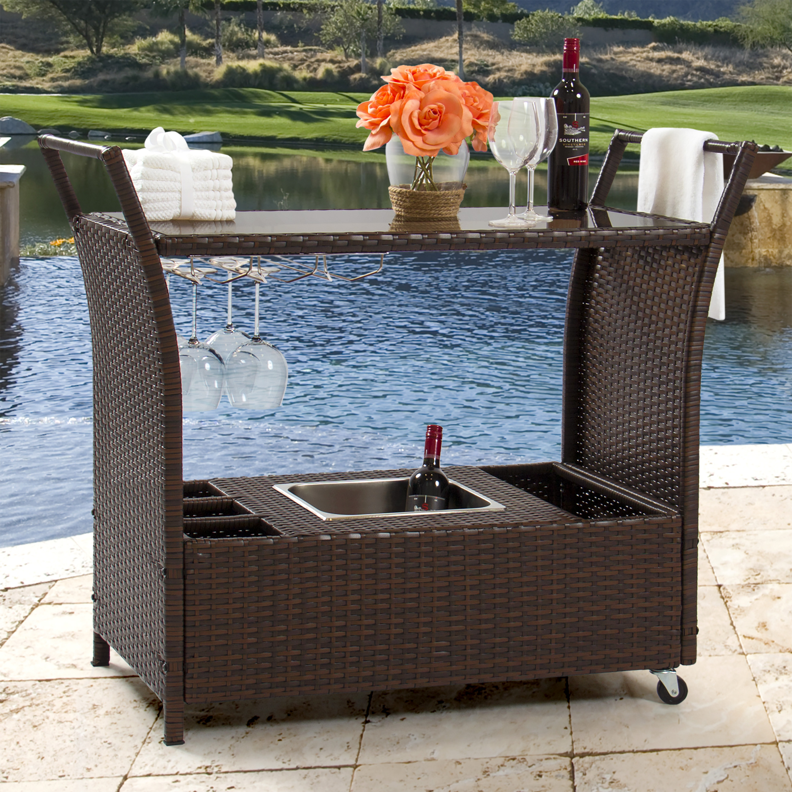 Best Choice Products Rolling Wicker Outdoor Bar Cart w/ Ice Bucket, Glass Countertop, Glass Holders, Storage - Brown