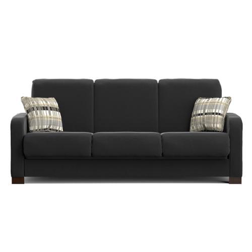 Handy Living Trace Convert A Couch Black Microfiber Futon Sofa