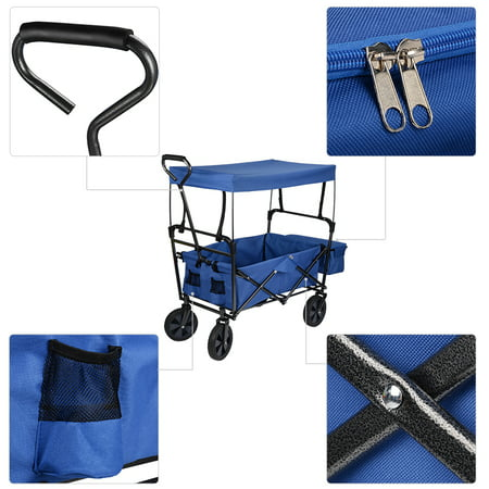 GreenWise Wheelbarrows, Collapsible Wagon Folding Utility Outdoor Garden Cart with Canopy,165lb Capacity (Blue) - image 3 of 6