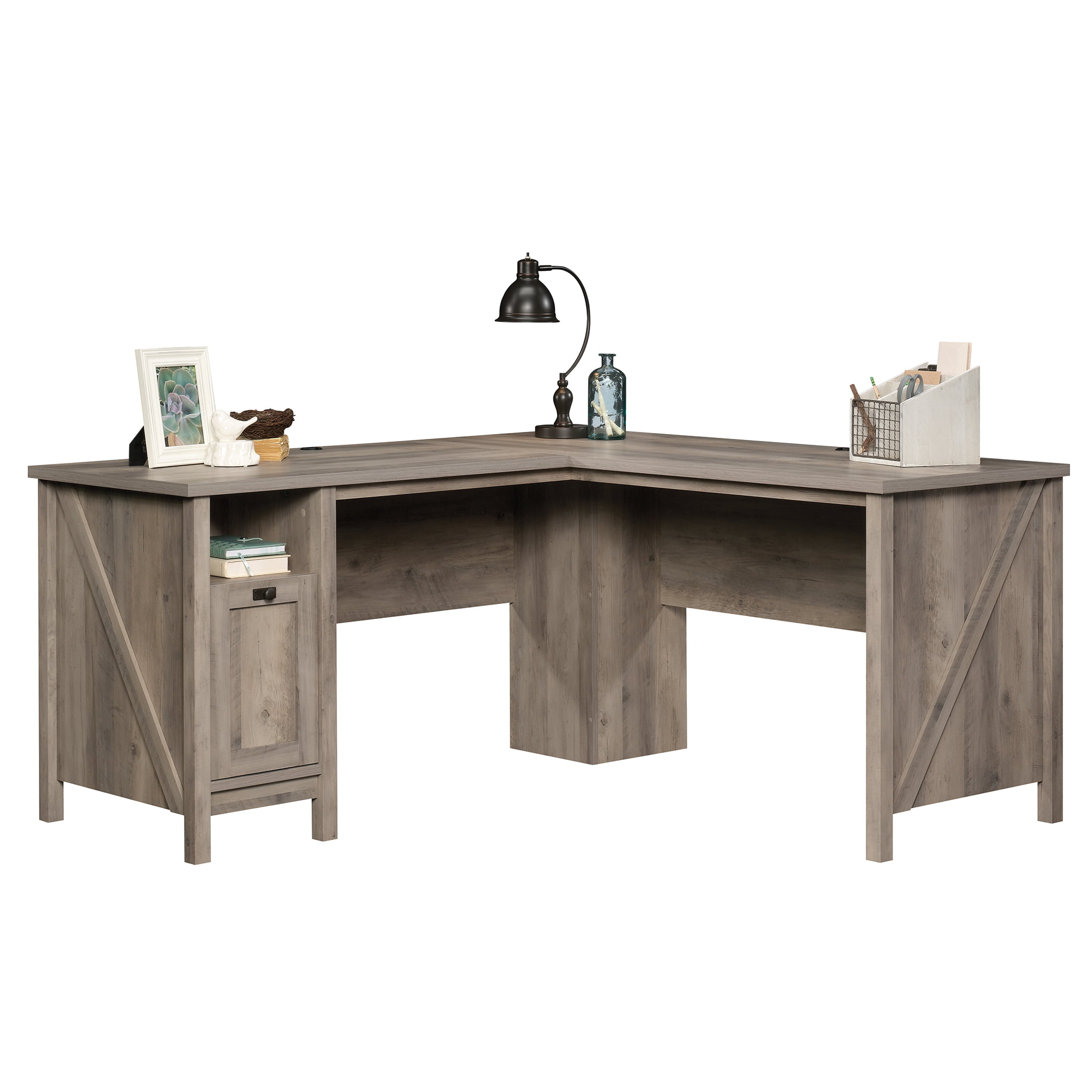Better Homes Gardens Modern Farmhouse L Desk Rustic Gray Finish Walmart Com Walmart Com
