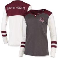 Texas A&M Aggies Pressbox Women's Mia Henley Long Sleeve T-Shirt - Charcoal/Maroon