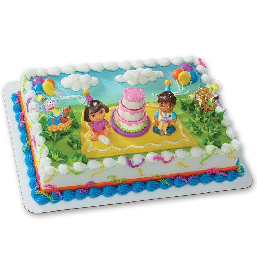 Dora The Explorer Birthday Celebration Decoset Cake Decoration
