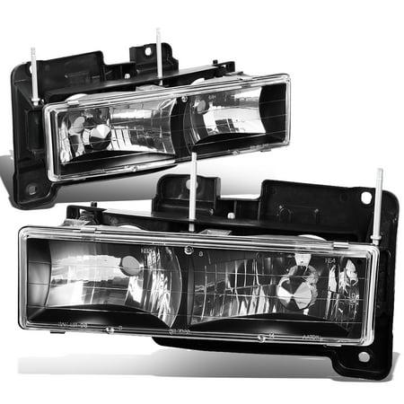 For 1988 to 2000 Chevy GMC C10 C/K Pickup Suburban Tahoe Yukon Pair Black Housing Front Bumper Headlight Lamps 89 90 91 92 93 94 95 96 97 98
