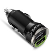 Insten Dual USB For Car Charger Adapter for iPhone 11 / 11 Pro / 11 Pro Max 6 6S Plus SE 7 7+ XS X 8 8+ iPad Mini Air Pro / Samsung Galaxy S9 S8 S10 S10e Tab S7 Note 8 5 LG Stylo 4, Black 2-Port