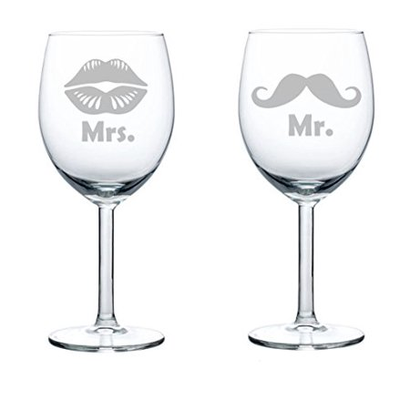 Set of 2 Wine Glasses Wedding Married Couple Mr. Mrs. Mustache Lips (10 oz)