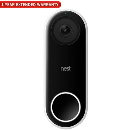 Nest (NC5100US) Hello Smart Wi-Fi Video Doorbell + 1 Year Extended Warranty
