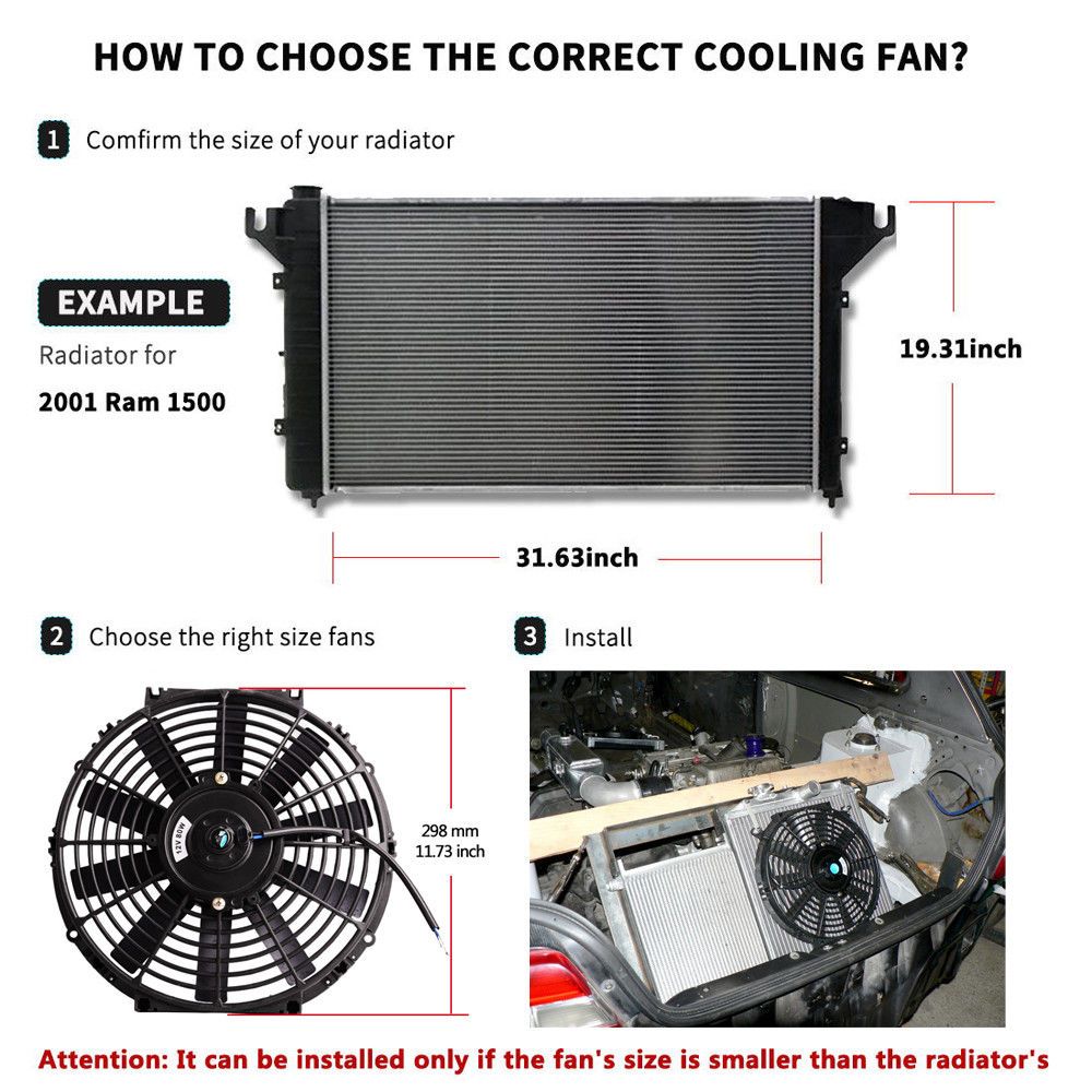 Fans & Kits Back To Search Resultsautomobiles & Motorcycles 12 High Performance Electric Cooling Fan Push Pull Electric Radiator Slim Fan 12v 80w 2150cfm With Mounting Kit Diameter 11.73