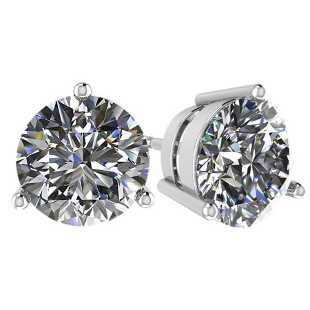 1.25cttw Swarovski Zirconia 3 prong Solitaire Stud CZ Earring Hypoallergenic Surgical Steel post Sterling Silver - Rhodium Plated Swarovski Crystal Surgical Steel Post
