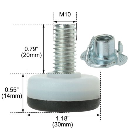 M10 x 20 x 30mm Leveling Feet Floor Thread Stem Protector for Furniture Leg 8pcs - image 5 of 8
