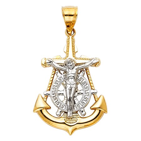14k Mariners Cross (Jewels By Lux 14K White and Yellow Two Tone Gold Mariner Christian Crucifix Cross Small Pendant 26mm X 18mm)