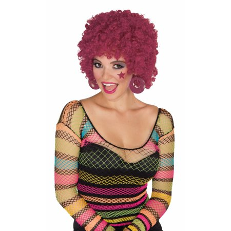 Burgundy 80's Afro Disco Clown Curly Hair Adult Unisex Costume Accessory - Disco Accessories