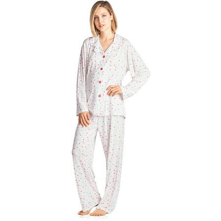 180dd31199 BHPJ By Bedhead Pajamas Women s Lighweight Soft Knit Pajama Set -  White Pink Sprinkle Dot