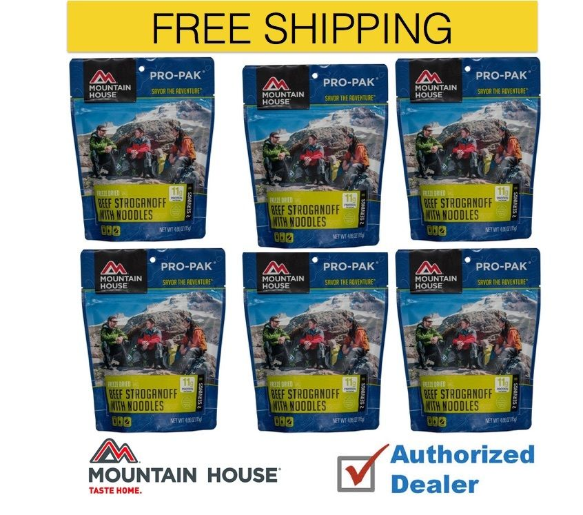 Mountain House Freeze Dried 6 Food Pouches Beef Stroganoff Pro-Pak by Mountain House