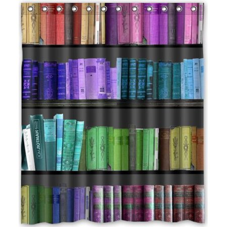 EREHome Bookshelf Shower Curtain Polyester Fabric Bathroom Decorative Curtain Size 60x72 Inches - image 1 de 1