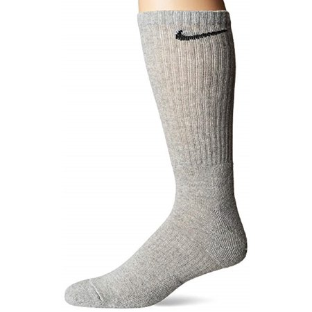 Nike Unisex Everyday Cotton Cushioned Crew Dark Grey Heather/Black Socks with DRI-FIT Technology, Large (3 Pairs) (Nike Socks Dri Fit No Show)