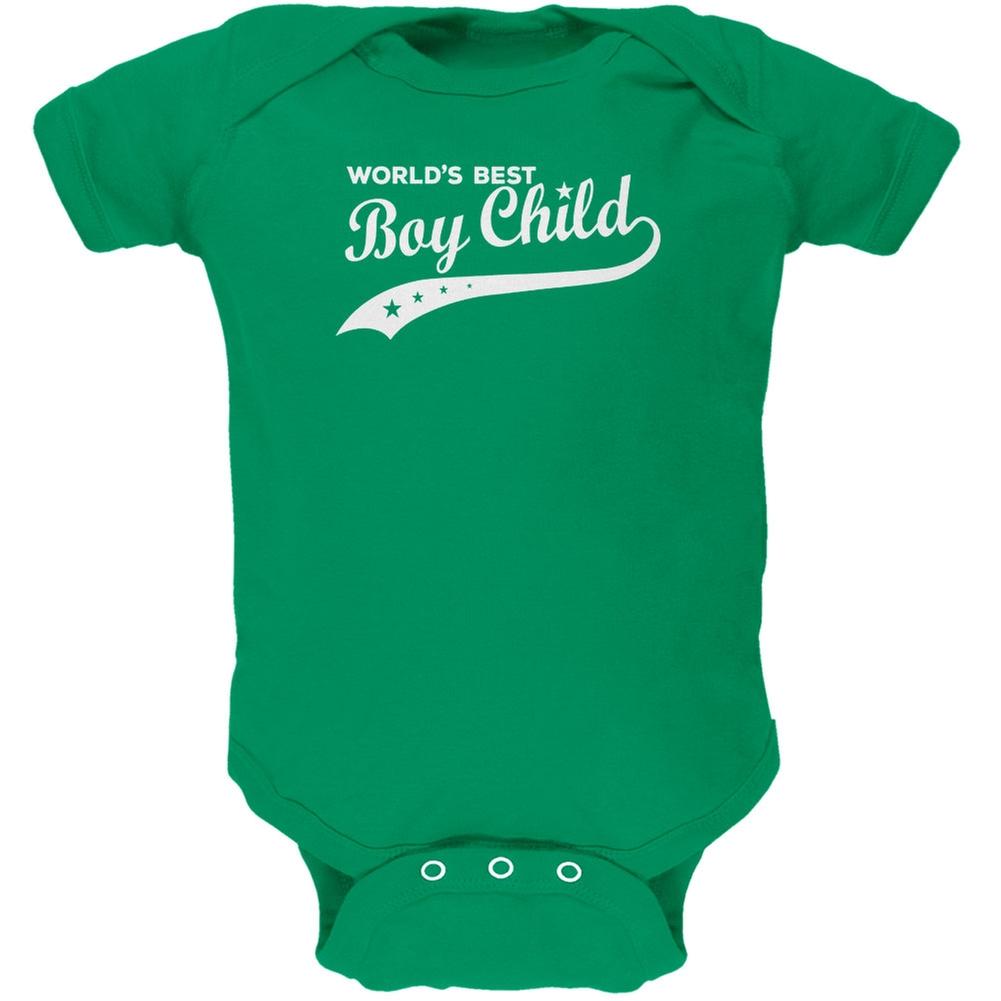 World's Best Boy Child Kelly Green Soft Baby One Piece