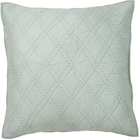 - Sea Glass Green Farmhouse Bedding Casey Cotton Hand Quilted Cambric Solid Color Euro Sham