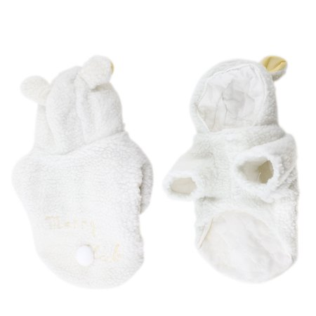 Style Dog Cat - Unique Bargains White Sheep Style Single Breasted Hoodie Pet Dog Cat Puppy Coat Clothing L