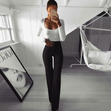 Fashion New Plus Size Women Solid Color High Waist Wide Leg Flared Office Ladies Pants Stretch OL Trousers - image 5 de 5