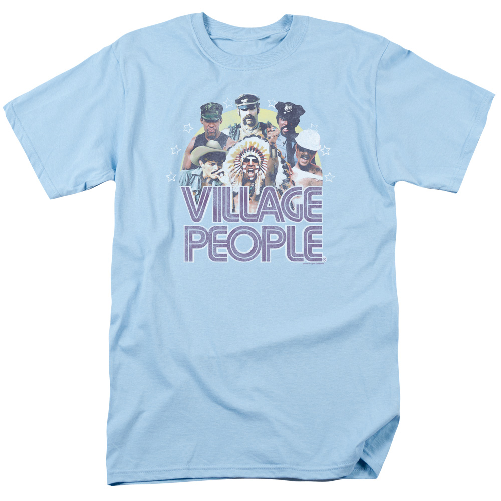 Village People/Group Shot S/S Adult 18/1   Light Blue     Vp109