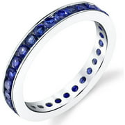 1.5 ct Round Created Blue Sapphire Eternity Ring in Sterling Silver