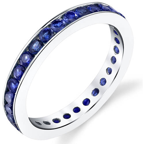 Oravo 1.50 Carat Created Blue Sapphire Rhodium-Plated Sterling Silver Engagement Ring