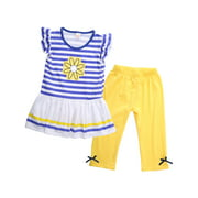 Canis 2Pcs Baby Girls Kids Flower T-Shirt Tops+Shorts Pants Outfits Summer Clothes