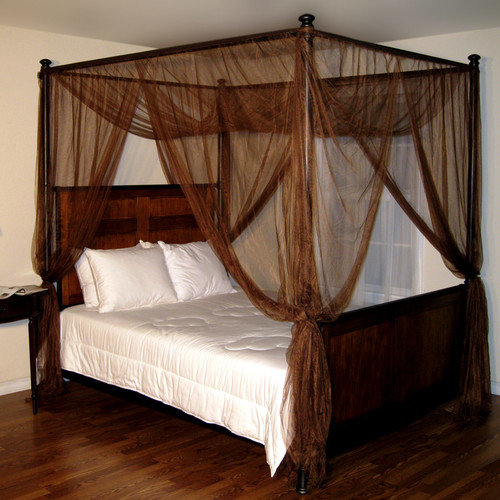 Poster Bed Canopy palace 4-post bed sheer panel canopy - walmart