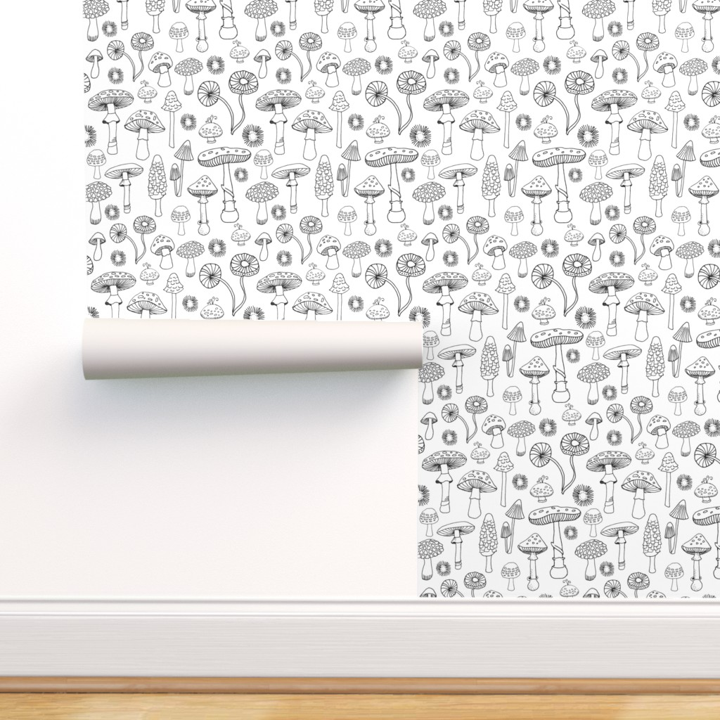 Removable Water-Activated Wallpaper Llamas Black White Coloring Animals