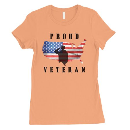 Proud Veteran Army Mom Womens Peach T-Shirt Cute 4th of July Outfit for $<!---->