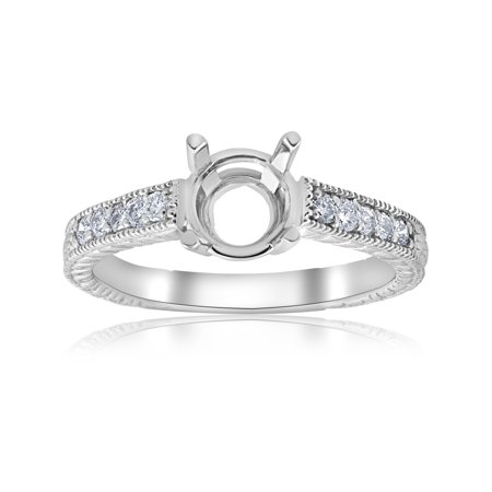 1/5ct Hand Engraved Diamond Engagement Ring Setting 14k White Gold Fits - Hand Engraved Engagement Setting