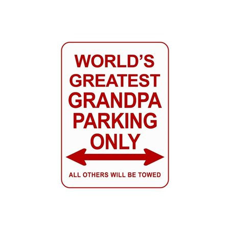 Novelty Parking Signs, Decorative Parking Signs for Dad and Grandpa, 12 x 9 Novelty Metal Signs, Reserved Parking for the World's Best Grandpa Sign, Parking Metal Signs for Garage or Man (Best Garage Man Caves)