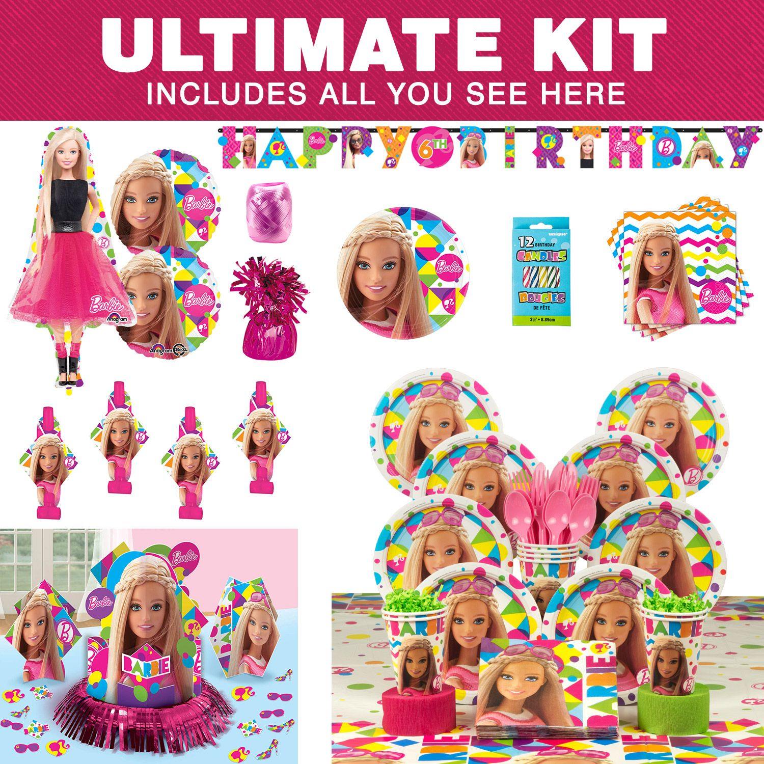 Barbie Sparkle Birthday Party Ultimate Tableware Kit - Party Supplies