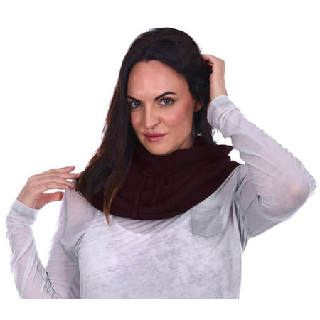 Linen Blend Scarf - SY America Womens Cable Knit Poly-Wool Blend Infinity Scarf Lace Through Tie Black & Maroon