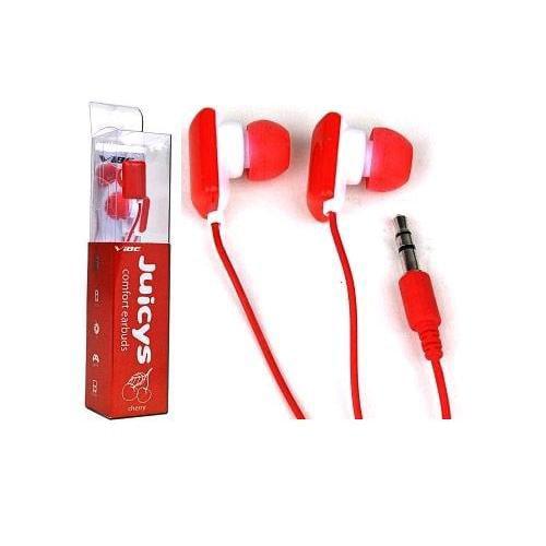 Vibe Juicys Stereo 3.5mm Earbuds / Headphones (Cherry Red)