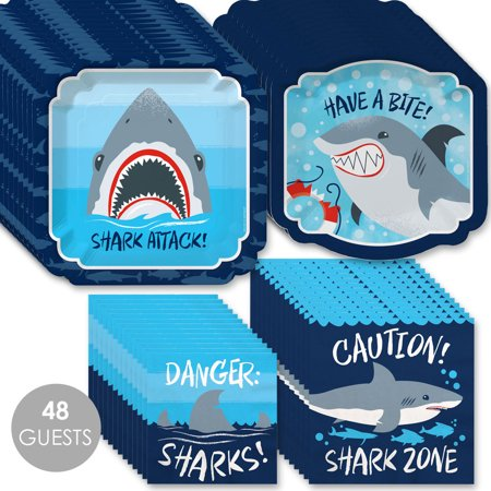 Shark Plates And Napkins (Shark Zone - Jawsome Shark Party or Birthday Party Tableware Plates and Napkins - Bundle for)