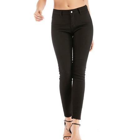 LELINTA Women's High Waist Stretch Skinny Jeans Fashion Zipper Up Basic Trousers Black Casual Skinny Jeans Pants