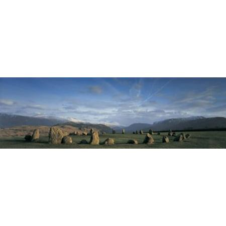 Rocks on a field Castelrigg Stone Circle Keswick Lake district England Canvas Art - Panoramic Images (36 x 12) - Lake Superior Circle