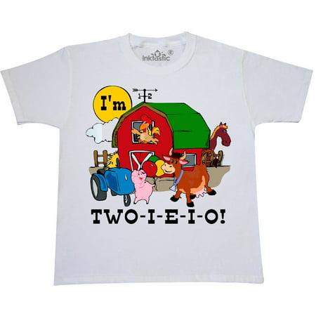 Inktastic TWO I E O Youth T Shirt 2nd Birthday Farm Barn Cow Pig Horse Eieio