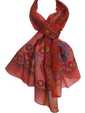 Indian Gauze Cotton Mandala Print Long Large Scarf Sarong Shawl Red Pink JK259