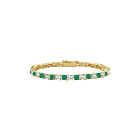 Created Emerald and Cubic Zirconia Tennis Bracelet with 3.00 CT TGW on Yellow Gold Vermeil - image 1 de 4