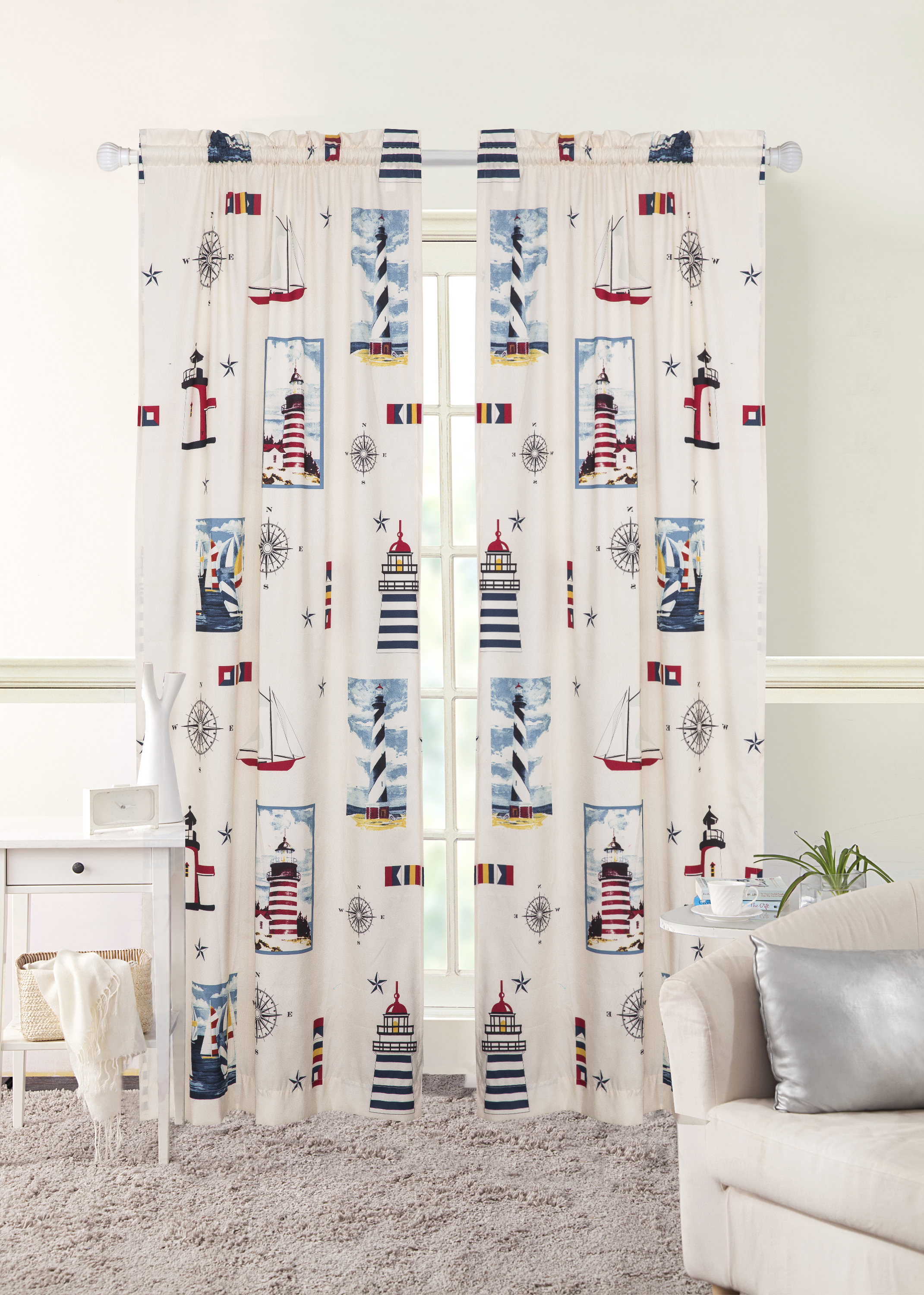 Mainstays To The Lighthouse Nautical Window Curtains, Set Of 2