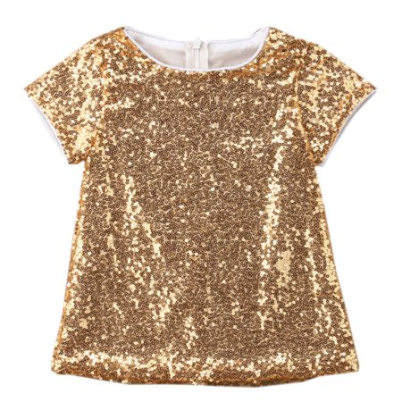 Styles I Love Baby Toddler Girls Glitter Gold Sequins Short Sleeves A-Line Mini Party Dress (100/12-18 (Love A Line Mini Dress With Pockets)