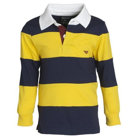 5a92eeb72c2c Sportoli - Sportoli Big Boys 100% Cotton Wide Striped Long Sleeve Polo  Rugby Shirt - Gold (Size 12) - Walmart.com