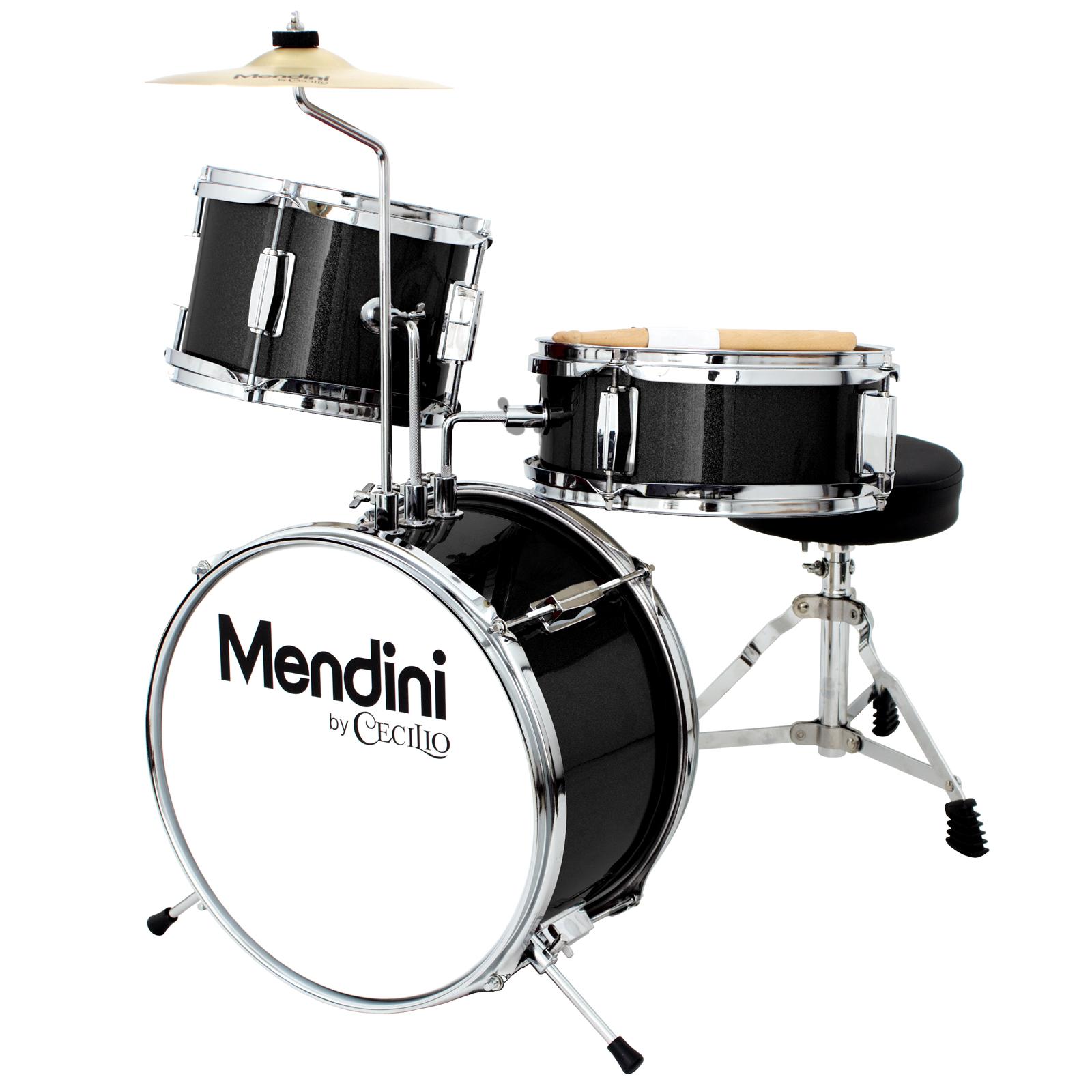 Mendini by Cecilio 13 Inch 3-Piece Kids / Junior Drum Set with Adjustable Throne, Cymbal, Pedal & Drumsticks, Metallic Black, MJDS-1-BK