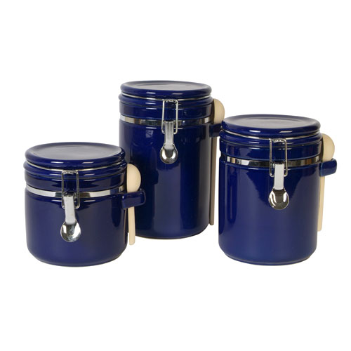 kitchen canister sets walmart sensations ii 3 canister set cobalt walmart 19294